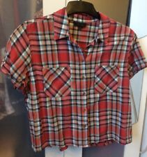 TOPSHOP Red Checked Tartan Shirt Blouse Size UK 10
