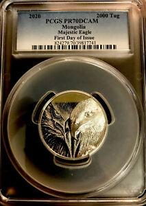 2020 Mongolia 2000 Togrog Majestic Eagle 3oz .999 Silver Proof Coin PCGS PR70 FD