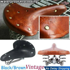 Vintage Elephant Spring Genuine Leather Bike Saddle Retro Bicycle Cushion Seat
