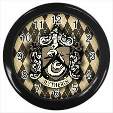 NEW* HARRY POTTER SLYTHERIN HOGWARTS SCHOOL Round Black Wall Clock Decor D01