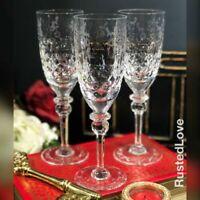 Vintage Rogaska Gallia Fluted Champagne Glasses Hand blown Yugoslavia Set of 3