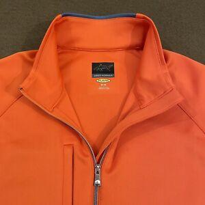 Mens GREG NORMAN Orange 1/4 Zip L/S Performance Play Dry Golf Pullover Medium