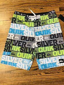 New Quicksilver Neon Colorblock Ghost Green Swim Trunks Size 14 /27