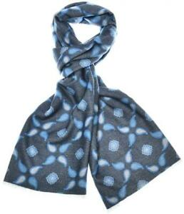Kiton Scarf Brushed Silk Knit Reversible Gray Blue 01SF0102 $595