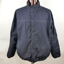 Tommy Hilfiger Men's XXL Full Zipper Jacket Coat Black Nylon Red Quilted Lining