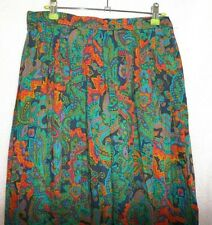 GREEN ORANGE FLORAL 100% WOOL VINTAGE PLEATED FLORAL SKIRT UK 14 - COUNTRY CASUA