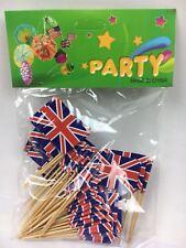 50 Union Jack Flag Cocktail Sticks Picks Party Food Decorations Sandwich Cupcake