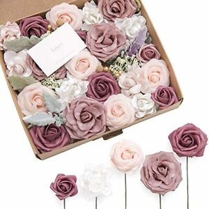 Ling's moment French Dusty Rose Artificial Wedding Flowers Combo for Wedding Bou