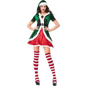 Ladies Elf Costume Christmas Santas Helper Womens Fancy Dress Xmas Party Outfit
