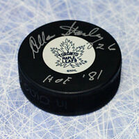 Allan Stanley Toronto Maple Leafs Autographed Hockey Puck with HOF Inscription