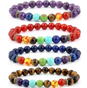 7 Chakra Healing Balance 8mm Natural Stone Elasticity Beads Women Men Bracelets