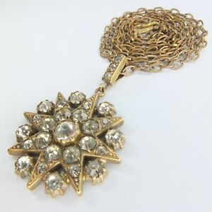Antique Victorian Diamond Paste Starburst Pendant Gilt/RG Paste Star Necklace