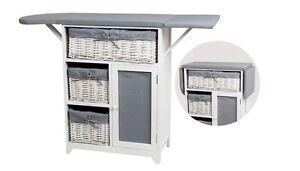 Iron Board 3-Tier Storage Cabinet with Wicker Basket Drawers Folding Grey/White