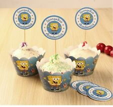 Cupcake Cup Cake Decorating,Toppers Wrappers PARTY DECORATION, Spongebob square