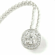 Ladies Diamond Pendant Necklace 18ct White Gold 0.40ct VS 18 Inches Circle