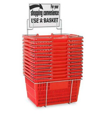 Hand-Held Shopping Baskets with Rack - Red