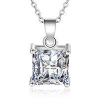 925 Sterling Silver Square CZ Pendant Necklace For Women Fashion Jewelry