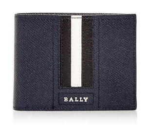 New Mens Bally Trasai Navy Leather Card Case Billfold Wallet