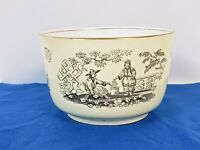 vintage Japanese Aisan ceramic Bowl with domestic scene Cooking Cream Black