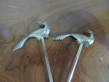 Antique French Skewers Silverplate Eagles Pheasant Ho Ho Bird France