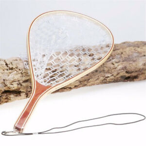 Fly Fishing Landing Net Trout Catch & Release Net with Wooden Handle New