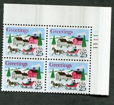 {BJ stamps} Error #2400 Christmas 1988 plate block with overall black ink smear