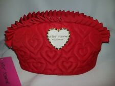 Betsey Johnson Red Ruffle Heart Quilted Clutch Cosmetic Bag Valentine Day $48