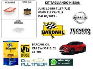KIT TAGLIANDO 3 FILTRI OLIO BARDAHL 5W30 C2 NISSAN JUKE 1.0 DIG-T 117CV 86KW