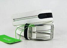 Hugo Boss Green Label Terenzio White Leather Belt Size 34 New Made In Italy # 10