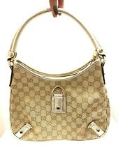 Gucci Beige Leather Abbey D-ring monogram small Hobo