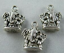 40pcs Tibetan Silver Ganesh Lord Ganesha Elephant Buddha Statue Charms 16.5x13mm