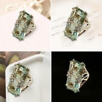 Vintage Splitter Smaragd Peridot rechteckigen Zirkon Ring Frauen Männer Ho Nett