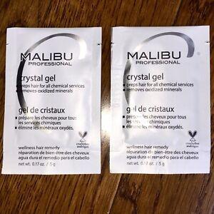 x2 Malibu C Crystal Gel Treatments + 2 Caps Removes Discoloration Preps Hair