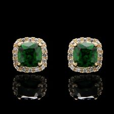 1.00CT Cushion Emerald Halo Created Diamond Earrings 14K Yellow Gold Screwback