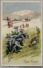 Buon Natale Bambini Fiori Illustratore Italiano PC Viaggiata 1953
