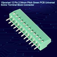 10Pcs 12 poles 12 pin Universal Screw PCB Terminal Block Connector 2.54mm Pitch