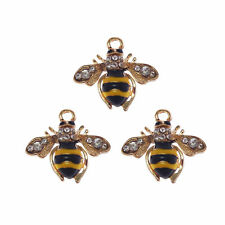 6pcs Enamel Alloy Gold Cute Honeybee Crystal Pendants Charms Accessories 53281