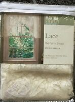 """New Martha Stewart Lace Valance Swags SPRING GARDEN 56"""" x 32"""" Floral Roses"""