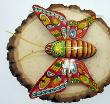 Vintage Tin Friction Butterfly Toy Litho Alps Japan Moth Figurine - Works Great