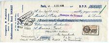 TRAITE 1935 IMAGERIE ET PUBLICITE RENE TOURET PARIS PERFOREE TIMBRE FISCAL