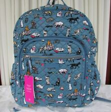 Vera Bradley Cat's Meow Iconic Campus Backpack Large Laptop Tech Bag Cats NWT