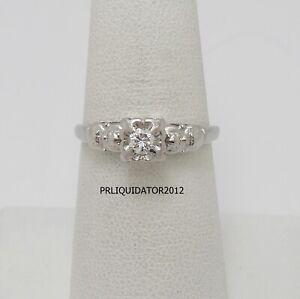 Vintage .15CT Diamond Solitaire Engagement Wedding Bridal Ring 14K White Gold