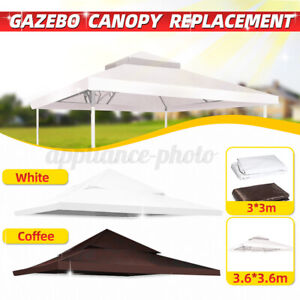 3.6x3.6m Garden Gazebo Top Cover Roof Replacement Patio Pavilion Sunshade 2-Tier