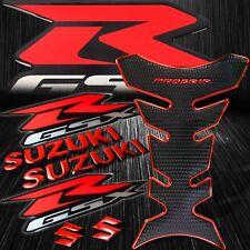 "Chrome Red Pro Gas/Fuel Tank Grip Pad+6"" Logo&Letter+Silver GSXR Emblem Sticker"