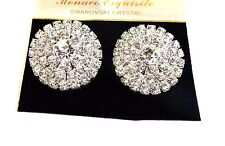 ROUND RHINESTONE CRYSTAL EARRINGS 1.25 INCH ROUND EARRINGS