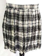 American Rag Cie Skirt Womens Sz XL Black Gray White Plaid Crinkle Circle Flare