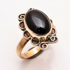 Natural Black Onyx Gemstone Ring Size US 8, Antique Brass Jewelry BRR120