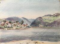 Ernst Hübschmann Fluß Landschaft mit Dorf Donau Österreich Aquarell