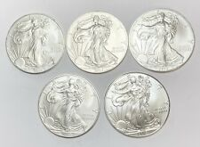 🇺🇸 SET OF 5! 2012 American Eagle Walking Liberty Coins Pure Silver .999 Dollar