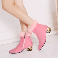 Women Chunky Heel Ankle Boots Trim Side Zip Suede Ladies Elegant Suede Shoes NEW